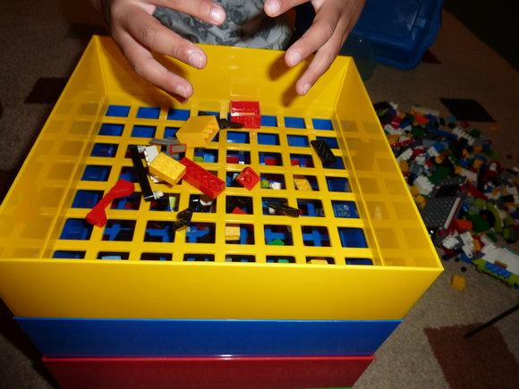 picture ofBox4Blox LEGO Organizer & Sorter In Action Sorting LEGO Blocks