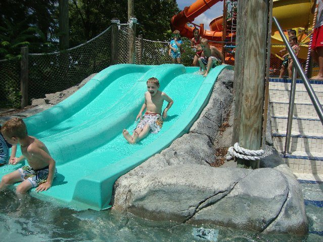 picture of Jacob going down slide