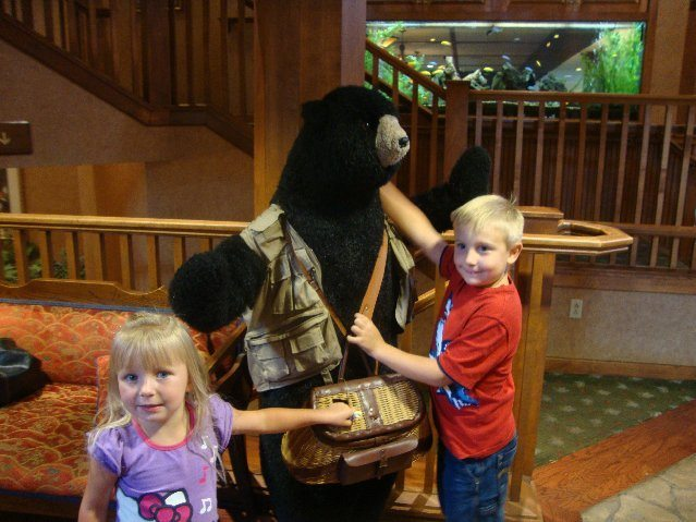 picture of Posing with the bear outside of Sunflower Restaurant