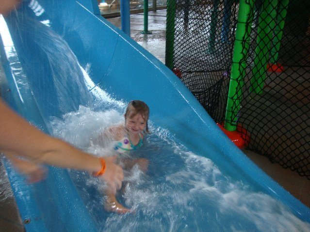 picture of Happy girl on waterslide