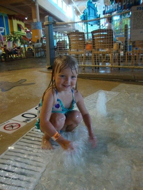 picture of Elizabeth having fun in the fountain