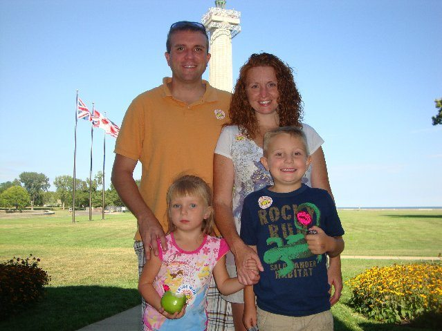 picture of My family in front of the Perry's Victory and International Peace Memorial