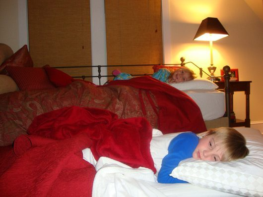 picture of Kids sleeping on sofa bed and trundle