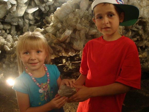 picture of Holding a crystal in Crystal Cave