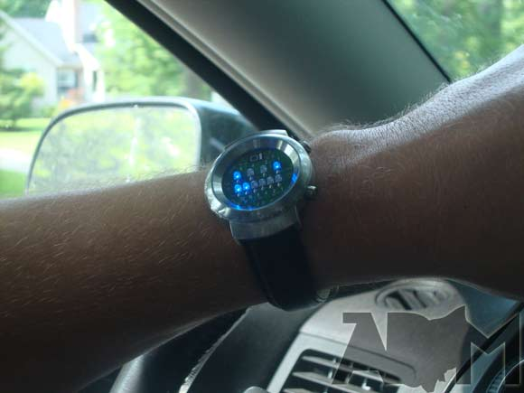 Binary Watch from ThinkGeek with Lights On