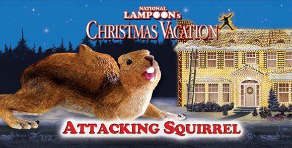 Christmas Vacation Attackign Squirrel box