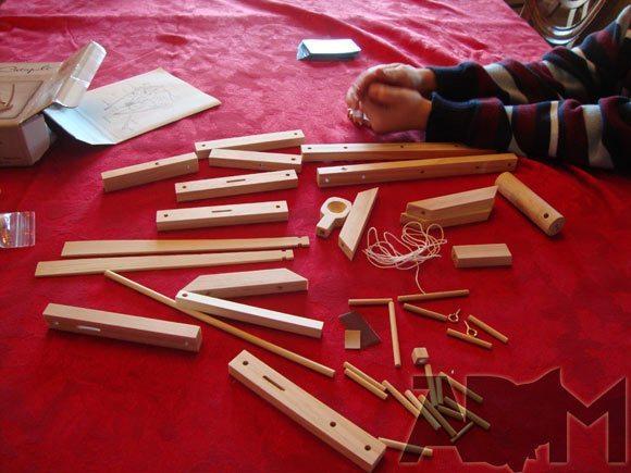 Leonardo Da Vinci Catapult Kit - PIeces on the Table