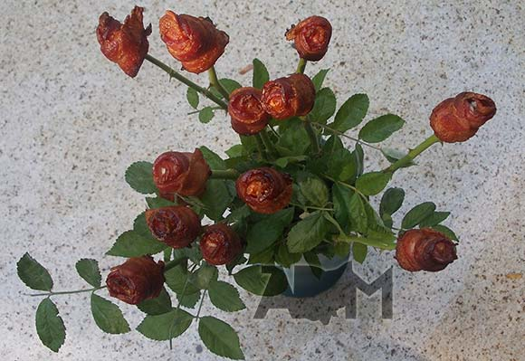 Bacon Bouquet on Granite Table