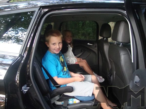 Back Seat of 2013 Ford Escape with 2 kids in car seats