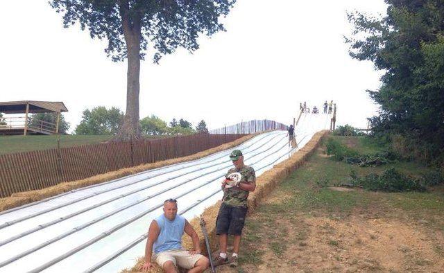 The giant slide at Pumpkin Village.