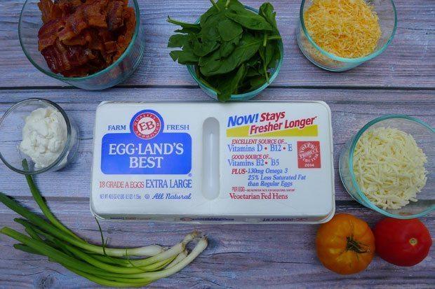 Easy-Crustless-Bacon-&-Spinach-Quiche-prep