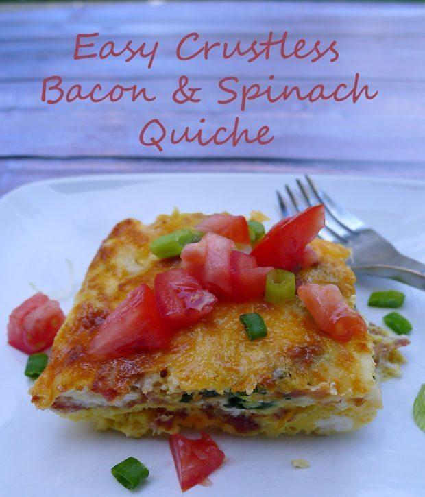 Easy Crustless Bacon & Spinach Quiche Recipe