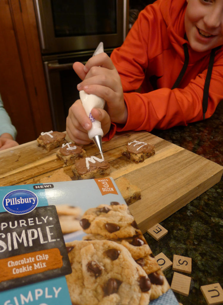 Scrabble Cookie Bars with Pillsbury Purely Simple Chocolate Chip Cookie Mix