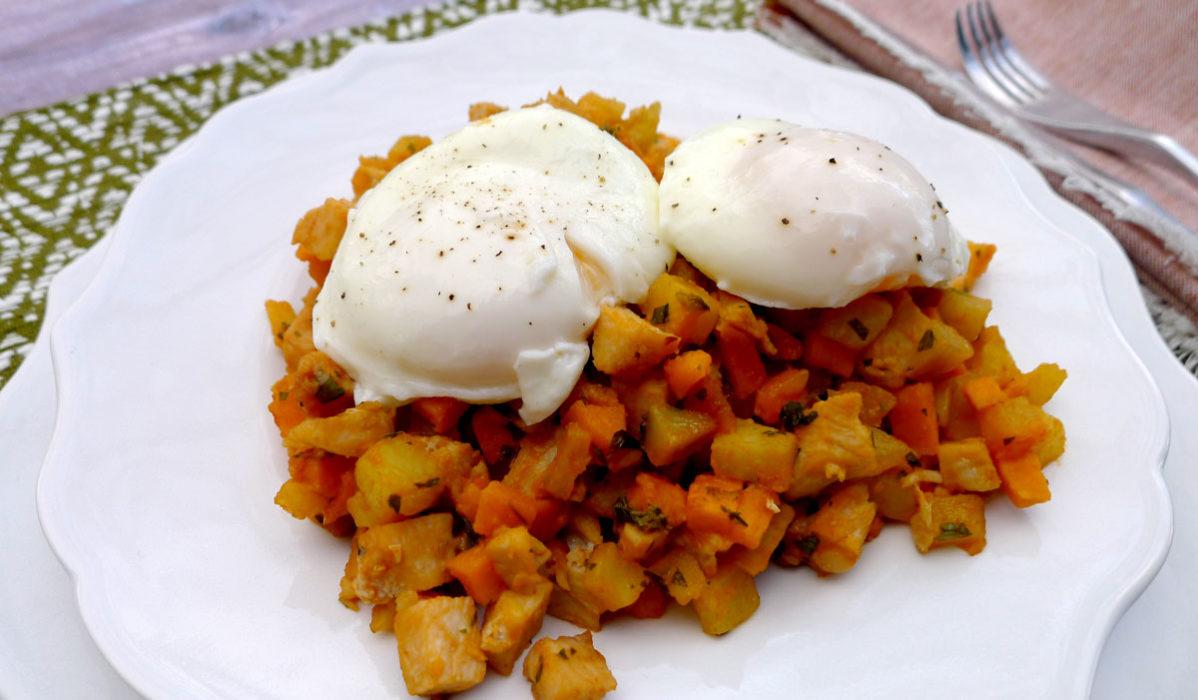 Turkey Sweet Potato Hash with Baked Eggs Recipe