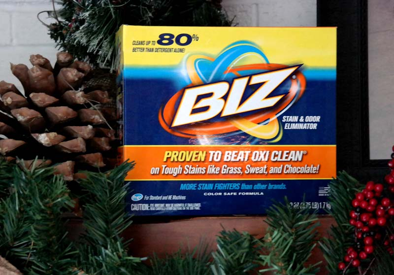 Use Biz laundry detergent to clean you home for holidays