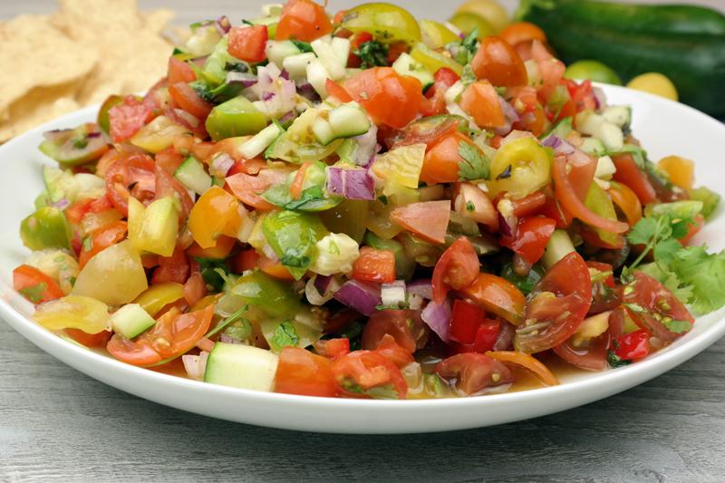 Fresh Heirloom Tomato & Zucchini Salsa