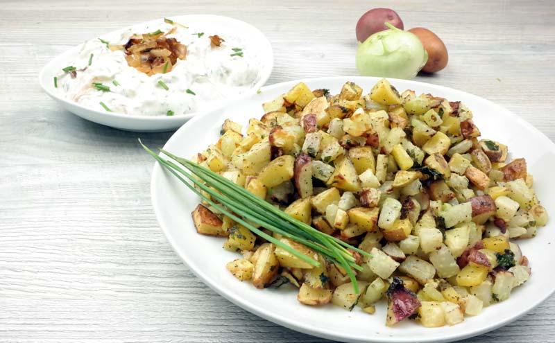 Kohlrabi Hash with Caramelized Onions Dip (2)