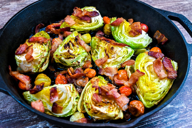 Young Cabbage with Roasted Tomatoes and Bacon Recipe
